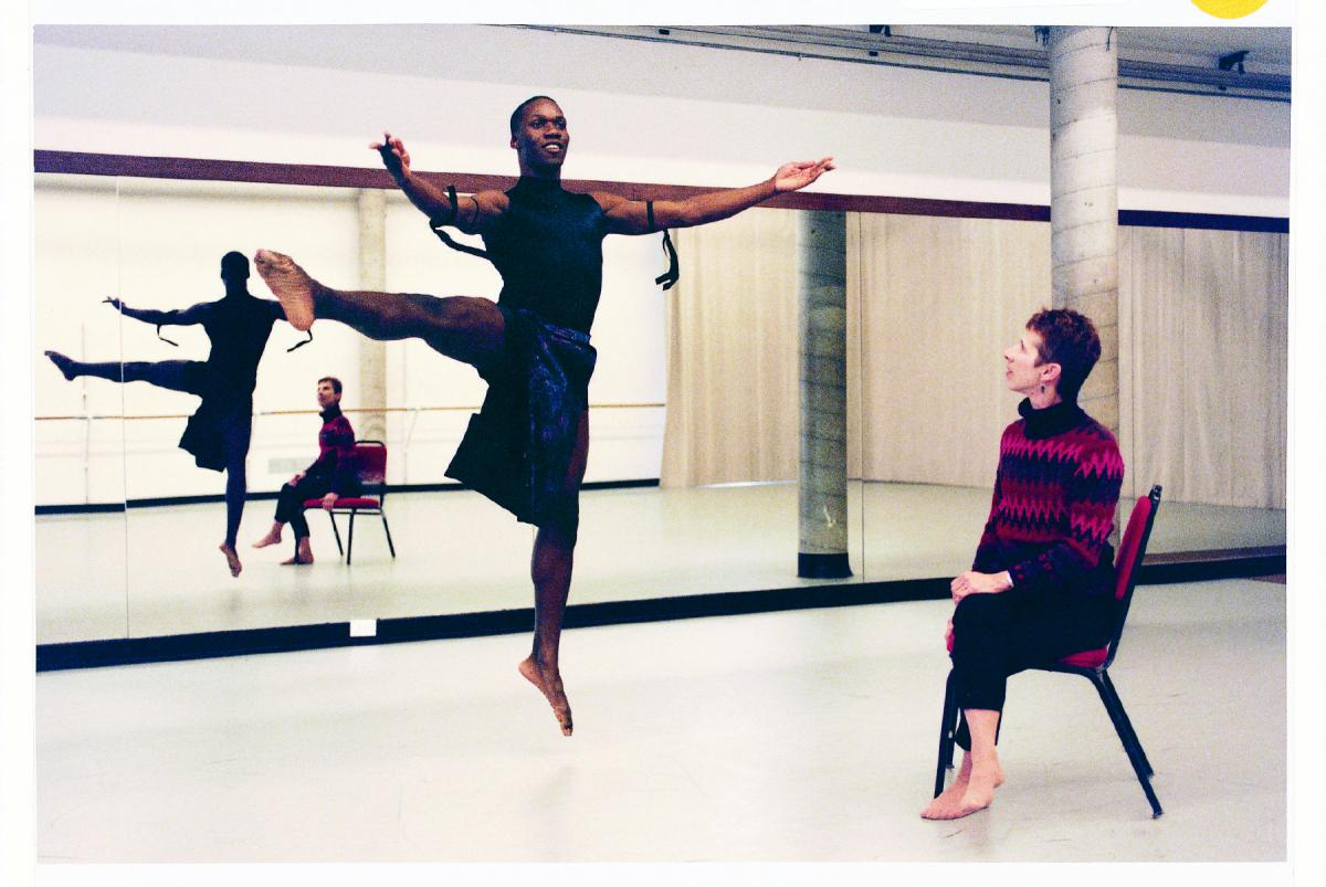Mary-Jean Cowell advises a student dancer