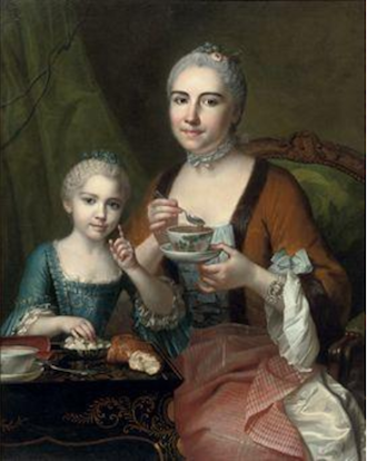 """Portrait of an elegant lady and her daughter, drinking hot chocolate, 1755"" by Jean Chevalier"