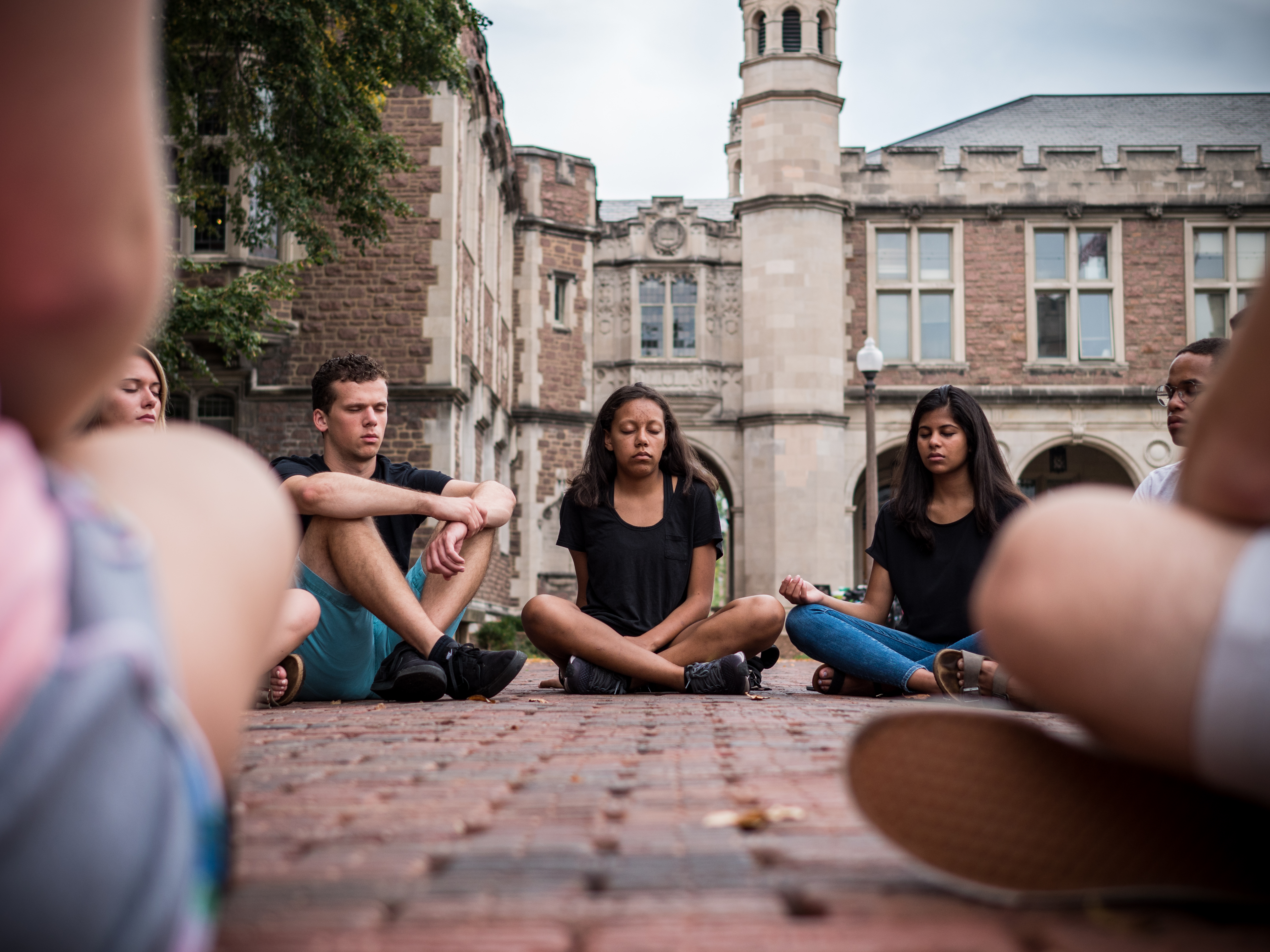 WashU students meditate