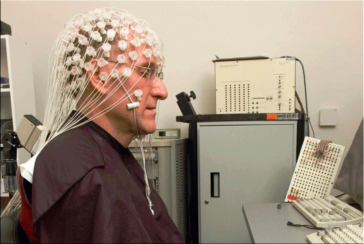 A Buddhist monk meditates with EEG for neuroscience research