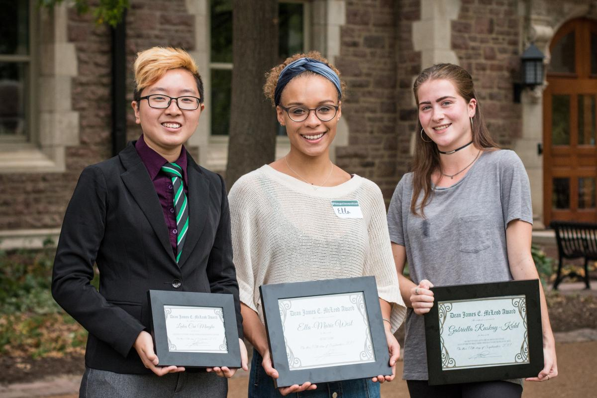 The 2017 McLeod Freshman Writing Prize Winners (from left to right): Luka Cai Minglu, Ella-Marie West, and Gabriella Ruskay-Kidd