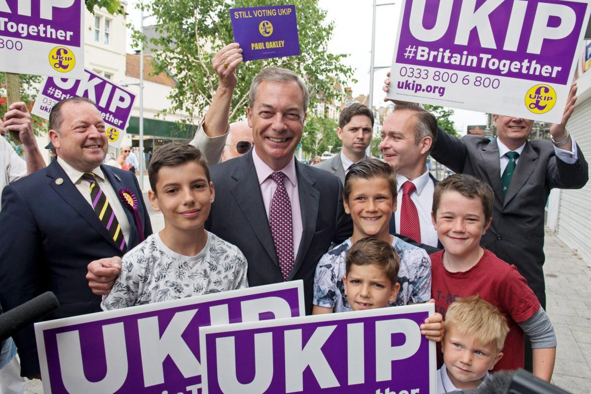 Nigel Farage, head of the UKIP party, and supporters