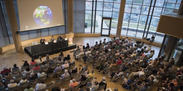 View of audience at climate change panel event