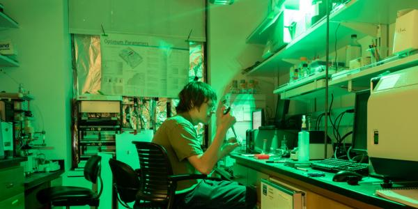 Graduate student Ben Wolf in his laboratory