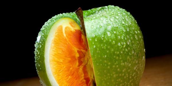 An apple that looks like an orange inside
