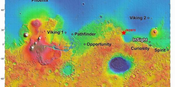 Mars map with Jezero crater
