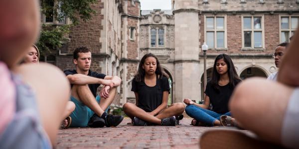 Students meditate