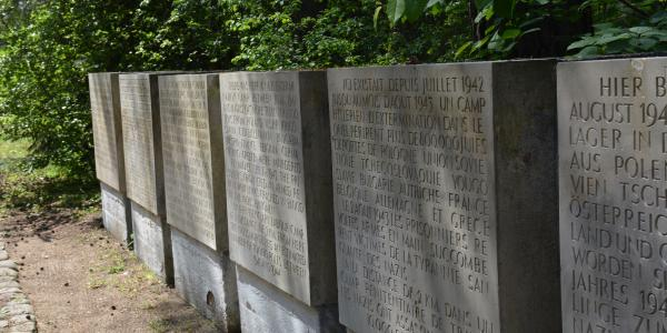 Memorial markers in different languages from Treblinka