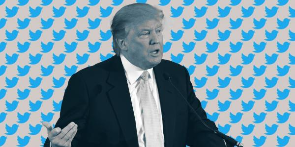 President Donald Trump surrounded by Twitter logos
