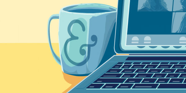 illustration of open laptop and mug with an ampersand