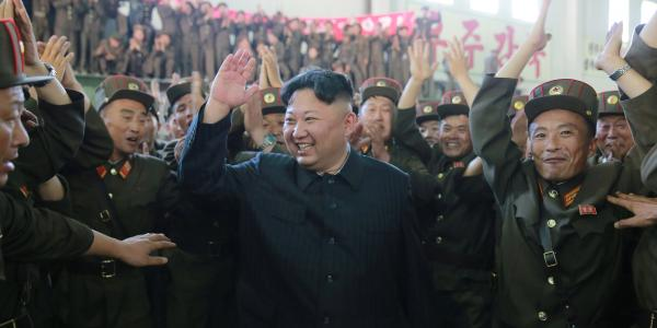 Kim Jong Un celebrating in North Korea