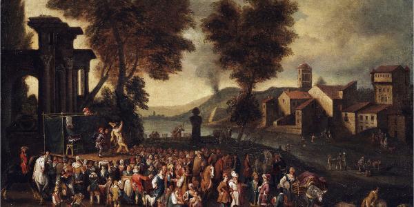 Painting by Peeter van Bredael, Commedia dell'arte Scene in an Italian Landscape
