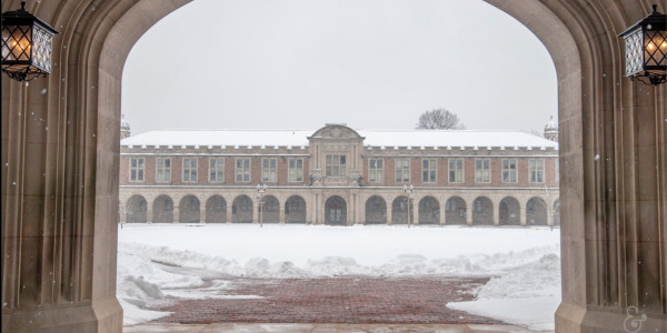 Shot of Brookings Quad with snow