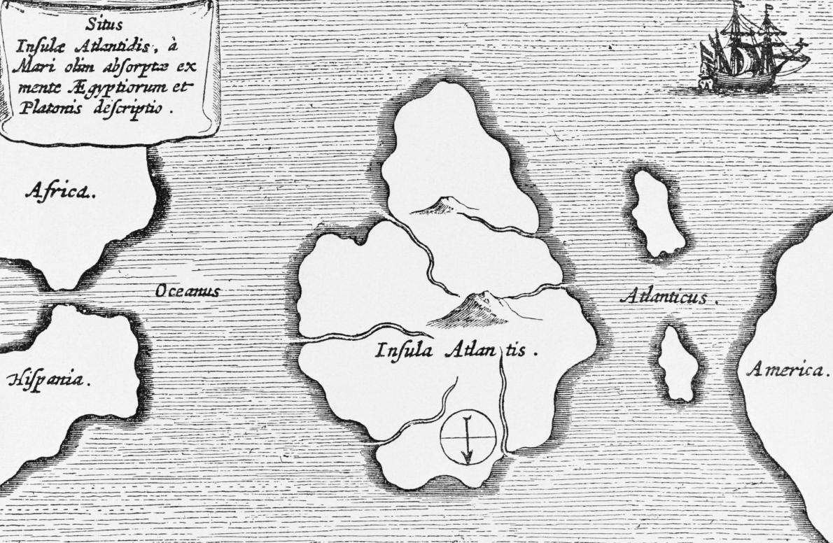 A 17th-century Jesuit made what's probably the most famous map of Atlantis, which he located in the Atlantic Ocean.