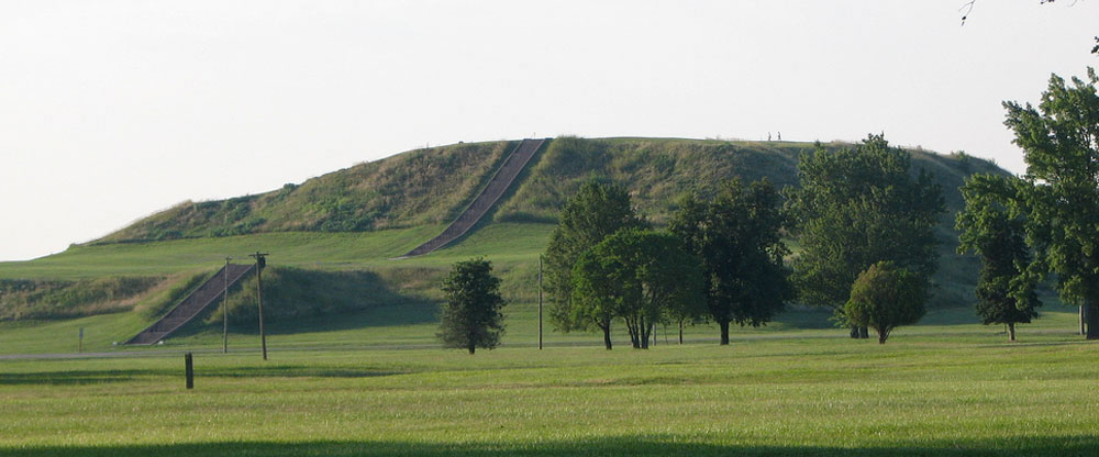 Monks Mound at the Cahokia Mounds State Historic Site in Illinois.