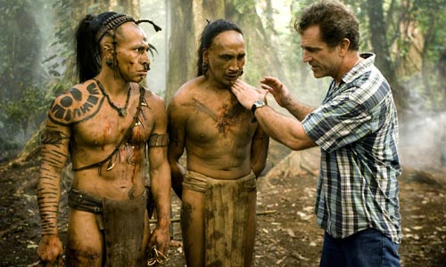 Mel Gibson on the set of his move Apocalypto